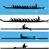Rowing silhouette vector Royalty Free Stock Photo