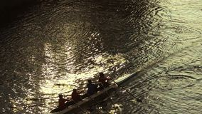 Rowing at sunset. Athletes on canoe stock video