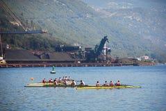 Rowing Team Practising in Bakar Harbour Royalty Free Stock Photos