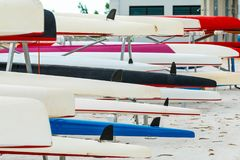 Rowing team sport boat Prepare to compete. Stock Photo