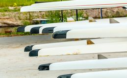 Rowing team sport boat Prepare to compete. Stock Photos