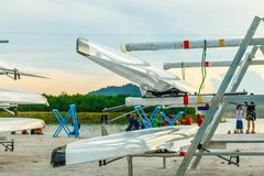 Rowing team sport boat Prepare to compete. Stock Images