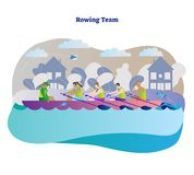 Rowing team vector illustration. Kayak, canoe or boat woman team with leader. Outdoor activity with teamwork water sport athlete. Rowing team vector Royalty Free Stock Photos