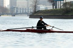 Rowing training - rower on the boat. St. Petersburg, Russia - April 26, 2019: young man rowing a single scull. rowing training on the Malaya Nevka river royalty free stock photos