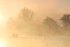 Rowing training on Thames in Oxford. Royalty Free Stock Images