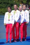 Rowing women's Quadruple Sculls bronze medalist in Rio2016 Stock Photography
