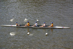 Rowing on the Yarra River. Rowing, oars, stroke, water, exercise, sport, Yarra, river, Melbourne, Victoria, Australia, foursome, cox, teamwork, success stock photos