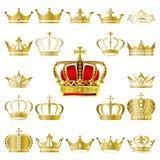 Rown e iconos de la tiara fijados ilustración del vector