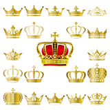Rown and tiara icons set Stock Photos