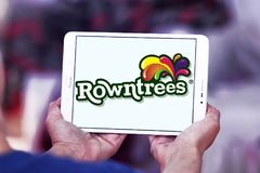 Rowntree`s food brand logo. Logo of Rowntree`s food on samsung tablet . Rowntree is an English confectionery business stock image