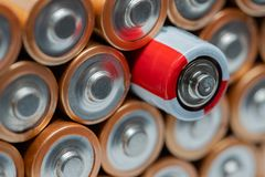 Rows of AA batteries, conceptual royalty free stock image