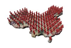 Rows of abstract people on China map yuan Royalty Free Stock Image