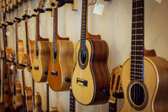 Rows of acoustic guitars on the wall. Of a music store Stock Photography