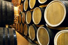 Rows of alcohol barrels in stock. Distillery. Cognac, whiskey, wine, brandy. Alcohol in barrels royalty free stock photo