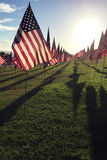 Rows of American Flags. In honor of the events that occurred on September 11, 2001 Royalty Free Stock Photo