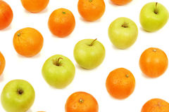 Rows of apples and oranges Stock Images