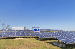 Rows array of polycrystalline silicon solar cells or photovoltaic cells in solar power plant station. Turn up skyward absorb the sunlight from the sun royalty free stock image