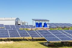 Rows array of polycrystalline silicon solar cells or photovoltaic cells in solar power plant station. Turn up skyward absorb the sunlight from the sun stock photos