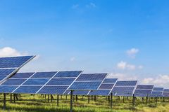 Polycrystalline silicon solar cells in solar power plant Stock Photo