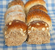 Rows of assorted bread rolls Royalty Free Stock Photography