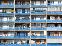 Rows of balconies. Block of flats. Horizontal shot of balconies Stock Images