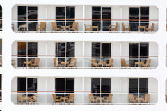 Rows of balconies on board of cruise liner Stock Images