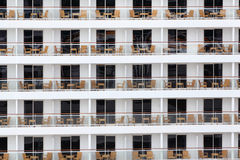 Rows balconies on board of cruise liner Royalty Free Stock Images