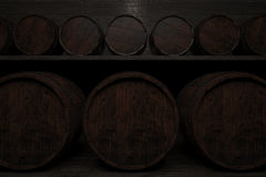 Rows of barrels on the shelves. 3d illustration. Royalty Free Stock Photography