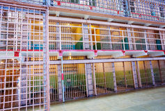 Rows of bars and prison cells Royalty Free Stock Image