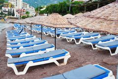 Rows of beach chairs Royalty Free Stock Images