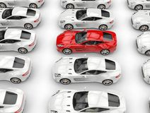Rows of beautiful sports cars - red car stands out Stock Photo