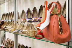 Rows of beautiful women's shoes on store shelves Royalty Free Stock Images