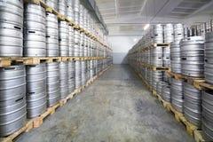 Rows of beer kegs in stock brewery Ochakovo Stock Images