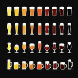 Rows of beer from light to dark in a variety of glasses and mugs. Beer icons. Vector illustration Royalty Free Stock Photos