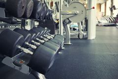 Rows of dumbbells in a gym Stock Photos