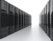 Rows of blade server system on white background Royalty Free Stock Images
