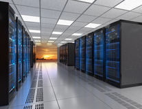 Rows of blade server system on white background Royalty Free Stock Photos