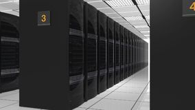 Rows of blade servers in data center stock video footage