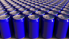 Rows of blue aluminum cans at factory. Soft drinks or beer production. Modern recycling packaging. 3D rendering. Rows of blue aluminum cans at factory. Soft Royalty Free Stock Photo