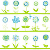 Rows with blue flowers Royalty Free Stock Photo
