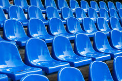 Stadium seats. Rows of blue plastic stadium seats Royalty Free Stock Images