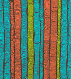 Rows of blue, red and green hand drawn vertical folds Stock Photos