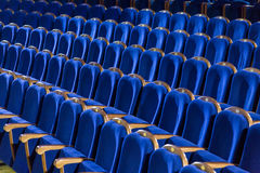 Rows of blue seats in the auditorium Royalty Free Stock Photo