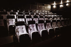 Rows of blue seats. Rows of seats greyish blue color in a cinema theater Royalty Free Stock Image
