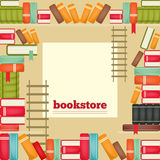 The rows of books on shelves Stock Photos
