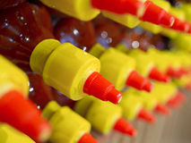 Rows of bottled sauce Royalty Free Stock Photos