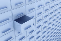 Rows of boxes with one opened box Royalty Free Stock Photo