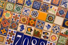 Rows of Brightly Colored Creamic Tiles Royalty Free Stock Photos