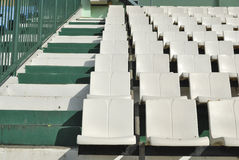 Rows of broken and stained white chairs  an outdoor auditorium Royalty Free Stock Photo