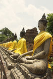 Rows of Buddha Images in Wat Yai Chai Mongkol. In Ayutthaya in Thailand stock photo